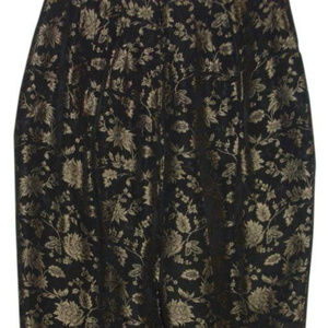 Bronze gold black metallic floral print trousers